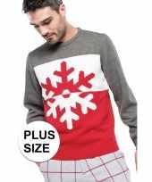 Vergelijk grote maat grijs rode foute lelijke gebreide kersttrui met sneeuwvlok print voor heren vol