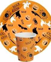 Vergelijk halloween feest party wegwerp servies oranje met print prijs