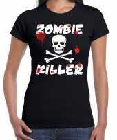 Vergelijk halloween zombie killer shirt zwart dames met zombie killer bedrukking prijs