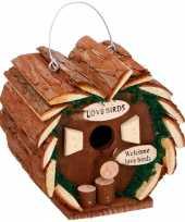 Vergelijk hartvormig houten vogelhuisje 16 cm prijs