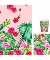 Vergelijk hawaii tafeldecoratie set servetten bekers en tafelkleed roze groen prijs