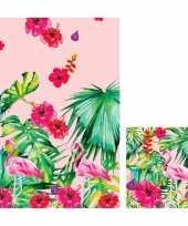 Vergelijk hawaii tafeldecoratie set servetten en tafelkleed tafellaken roze groen prijs