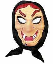 Vergelijk heksenmasker rode haren van plastic prijs