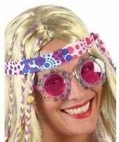 Vergelijk hippie feestbril met roze glazen voor volwassenen prijs