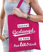 Vergelijk hoera geslaagd cadeau tas roze katoen prijs