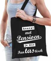 Vergelijk hoera pensioen cadeau tas zwart katoen prijs