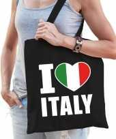 Vergelijk italie schoudertas i love italy zwart katoen prijs