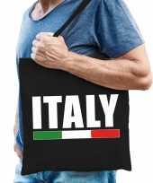 Vergelijk italie supporter schoudertas italy zwart katoen prijs