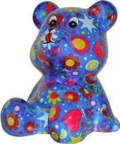 Vergelijk kado spaarpot beer blauw met bloemen print 16 cm prijs