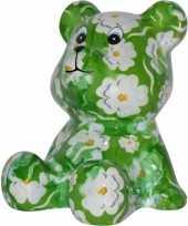 Vergelijk kado spaarpot beer groen met witte bloemen print 16 cm prijs