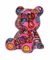 Vergelijk kado spaarpot beer roze met lippen en smileys 16 cm prijs