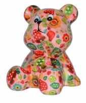 Vergelijk kado spaarpot beer roze met paddenstoelen print 16 cm prijs