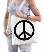 Vergelijk katoenen boodschappentas met hippie peace teken prijs