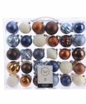 Vergelijk kerst kerstballen mix 60 delig blauw koper bruin en wit prijs