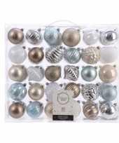 Vergelijk kerst kerstballen mix 60 delig zilver champagne bruin en blauw prijs