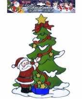 Vergelijk kerst raamsticker kerstman bij kerstboom prijs