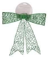 Vergelijk kerstboom strik groen 36 cm prijs