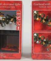 Vergelijk kerstslinger met verlichting en kerstballen goud prijs