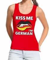 Vergelijk kiss me i am german rood fun t tanktop voor dames prijs