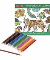 Vergelijk kleurboek set met kleurpotloden van wilde dieren prijs