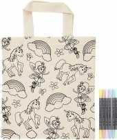 Vergelijk kleurset boodschappentasje eenhoorns met stiften prijs