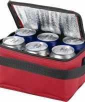 Vergelijk koelbox koeltas rood zwart voor 6 sixpack blikjes prijs