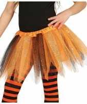 Vergelijk korte heksen verkleed tule onderrok oranje zwart 31 cm voor meisjes prijs