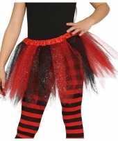 Vergelijk korte heksen verkleed tule onderrok zwart rood 31 cm voor meisjes prijs