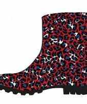 Vergelijk korte regenlaarzen met rood blauwe panter print voor dames prijs