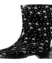Vergelijk korte regenlaarzen zwart met grijze sterren print voor dames prijs