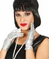 Vergelijk korte verkleed handschoenen metallic zilver 22 cm prijs