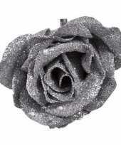Vergelijk kunstroos zilver met glitters op clip 9 cm prijs