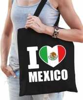 Vergelijk mexico schoudertas i love mexico zwart katoen prijs