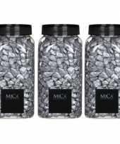 Vergelijk mica decoratie stenen kiezels zilver 3 kg kilo prijs