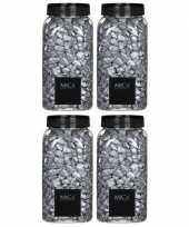 Vergelijk mica decoratie stenen kiezels zilver 4 kg kilo prijs