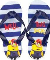 Vergelijk minions flip flops blauw witte strepen voor kinderen prijs