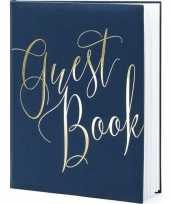 Vergelijk navy blauwe gouden gastenboeken 20 x 25 cm guest book prijs