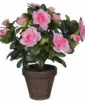 Vergelijk nep planten groene azalea kunstplanten met roze bloemen 27 cm met pot stan grey prijs