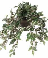 Vergelijk nep planten groene tradescantia vaderplant kunstplanten 45 cm met hangpot prijs