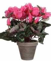 Vergelijk nep planten roze cycklamen kunstplanten 30 cm met oranje bloemen en grijze pot prijs