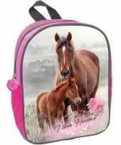 Vergelijk paard met veulen school rugzak roze voor meisjes 29 x 23 x 10 cm prijs