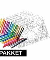 Vergelijk pakket 12 pasen kleurplaten placemats met stiften en kleurpotloden prijs