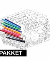 Vergelijk pakket 6 pasen kleurplaten placemats inclusief stiften prijs