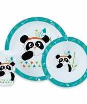 Vergelijk panda kunststof serviesset 3 delig bord diep bord beker voor kinderen prijs
