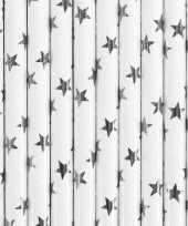 Vergelijk papieren rietjes wit met zilveren sterren 10 stuks prijs