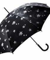 Vergelijk paraplu zwart met zilveren sterren 85 cm prijs
