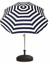 Vergelijk parasolstandaard en blauw witte gestreepte parasol prijs