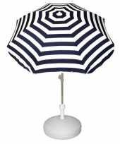 Vergelijk parasolstandaard wit en blauw witte gestreepte parasol prijs