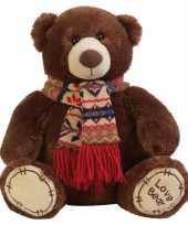 Vergelijk pluche bruine knuffelbeer met sjaal 65 cm prijs