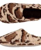 Vergelijk pluche instap sloffen pantoffels dierenprint giraf voor dames maat 39 40 prijs
